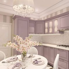 Lilac and white kitchen