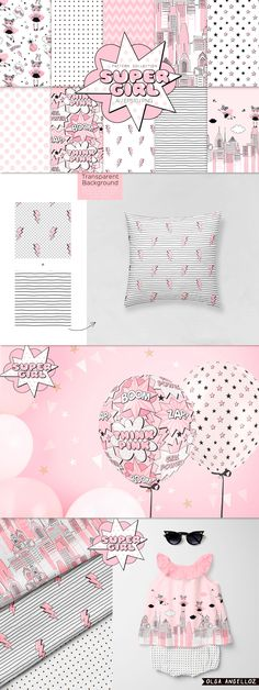 Super Hero Girl patterns by olga.angelloz on Graphic Design Pattern, Graphic Design Templates, Graphic Patterns, Cool Patterns, Superhero Fabric, Adobe Illustrator Software, Doll Drawing, Solid Color Backgrounds, Hero Girl