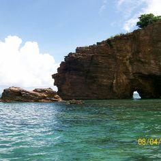 We swam through this at Rouge Beach St. Maarten.  Beautiful unspoiled beach on the other side!!