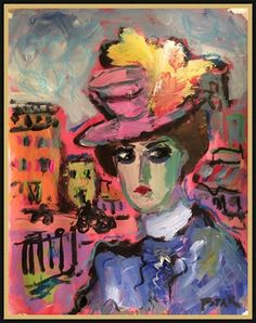 Figurative Expressionist Lady Portrait with feathered hat and town, Russ Potak by RussPotakArtist on Etsy