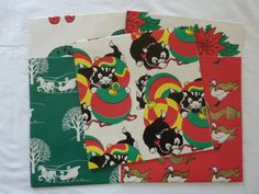 Vintage Christmas Wrapping Paper - 5 Full Sheets - 5 Designs - Cats, Goose, Sleigh, Wreath, Poinsettia