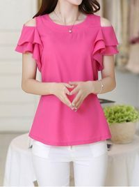 Casual Scoop Neck Off-the-Shoulder Flounce Blouse For Women Blouse Styles, Blouse Designs, Casual Wear, Casual Outfits, Short Tops, Types Of Sleeves, Dress Patterns, Blouses For Women, Designer Dresses