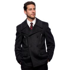 """West End Young Men's """"Willard"""" Charcoal Double Breasted Pea Coat"""