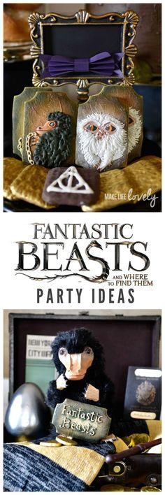 INCREDIBLE Fantastic Beasts and Where to Find Them party. SO many fun details from the movie including a DIY niffler, a bowtruckle cake, giggle water, and more! #dvdme #ad