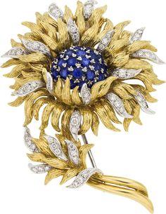 Tiffany & Co. Sapphire, Diamond, Gold Brooch