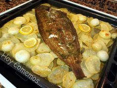lenguado al horno con patatas