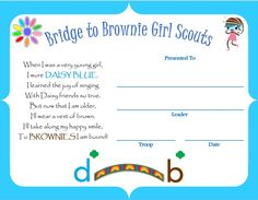 Daisy Bridge to Brownie Girl Scouts Certificate