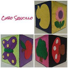 Cubo de Fieltro Sencillo, Juguete para bebés, Juguete sensorial, Activity Cube, Hub, Cubo de colores, Juego divertido, Figuras coloridas