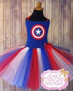 Superhero tutu dress. Captain America themed. by LisasTutus on Etsy