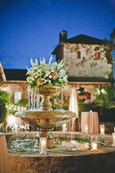 #fountain Photography by onelove-photo.com  Read more - http://www.stylemepretty.com/2013/09/20/napa-valley-wedding-from-fleurs-de-france-onelove-photography/