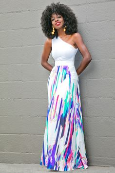 One Shoulder Tank + Printed High Waist Skirt