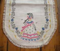 Vintage Southern Bell Embroidered Doily  by WildrosePrimitives, $18.00