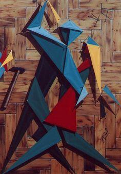 Collage en 2 x 4, Reality Show Series, Acrylic on canvas / Acrílico sobre tela, 70 x 100 cm / 27,5 x 39,5 in, 2001, by Carlos Presto