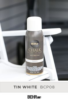 BEHR® Aerosol Chalk Paint is an easy way to create a unique and trendy look for your next paint project. It can be applied over most existing surfaces with very little surface preparation and delivers a smooth matte finish. Click to learn more.