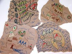 Pirate activity - make your own map! Supplies: Paper Grocery Bags Pens Some ideas to add to map: dock, treasure, volcano, ocean, boats, sharks, whales, pirate ship, cave, palm trees, pirate flag, etc.
