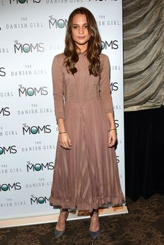 Alicia Vikander stepped out for another The Danish Girl screening, this time wearing a pretty antique-rose-coloured dress with grey suede shoes and Monica Vinader jewellery - December 16, 2015