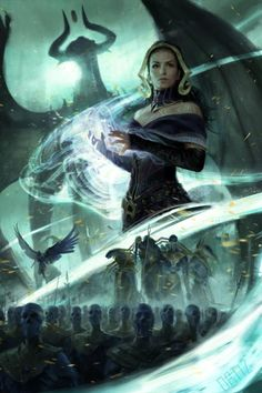 'Liliana and the Eternal Army' by Karla Ortiz, art for the 'War Of The Spark' expansion set, released May 3 2019 by Magic: The Gathering<br> Foto Fantasy, High Fantasy, Dark Fantasy Art, Fantasy Artwork, Karla Ortiz, Character Art, Character Design, Mtg Art, Pop Culture Art