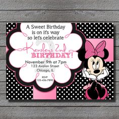 Minnie Mouse Birthday Invitation RED or PINK by LiveBrightDesigns, $14.99