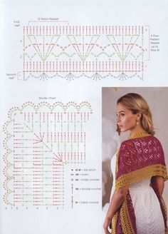 Image Article – Page 440297301069370928 – SkillOfKing.Com - Tuch Stricken Crochet Diagram, Crochet Chart, Love Crochet, Single Crochet, Crochet Lace, Crochet Stitches, Poncho Au Crochet, Crochet Shawls And Wraps, Crochet Scarves