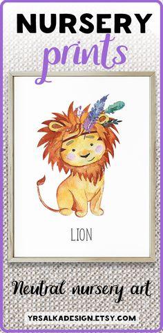 Lion print for nursery, lion nursery art, bohemian baby, prints for boys, safari nursery art, watercolor animal, boho animals print Look at other nursery arts by #yrsalka #instantdownload #Printable #etsyseller #nurseryart #nurserydecor #boy
