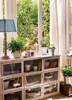 Rincón estancia con plantas y macetas frente a la ventana