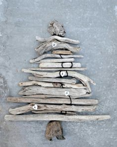 Holiday Tree / my mom made an actual christmas tree from driftwood . Driftwood Christmas Tree, Coastal Christmas, Noel Christmas, Rustic Christmas, All Things Christmas, Winter Christmas, Swedish Christmas, Homemade Christmas, Christmas Ideas