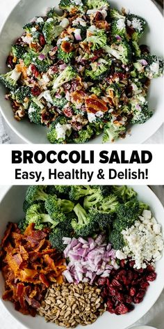 Broccoli Salad This delicious broccoli salad is a combination of broccoli bacon red onion cranberries sunflower seeds and goat cheese. Its an easy low-carb healthy broccoli salad recipe. The post Broccoli Salad appeared first on Rezepte. Best Broccoli Salad Recipe, Healthy Broccoli Salad, Healthy Salad Recipes, Diet Recipes, Healthy Snacks, Cooking Recipes, Smoker Recipes, Spinach Salad, Recipes Dinner