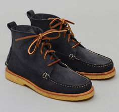 """""""The Grey Boot"""" 5-Eyelet Suede Moccasin Boot, Custom design, made exclusively for Hickoree's. Waterproof navy suede from S.B. Foot Tannery in Red Wing, Minnesota."""