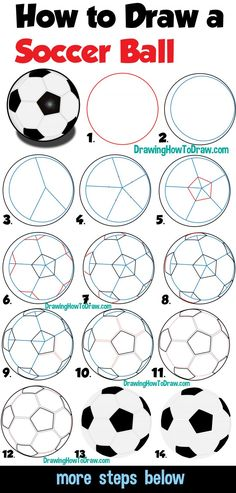 How to Draw a Soccer Ball Easy Step by Step Drawing Tutorial for Beginners - How to Draw Step by Step Drawing Tutorials Learn How to Draw a Soccer Ball Easy Step by Step Drawing Tutorial for Beginners + Kids Painting & Drawing, Drawing Tips, Learn Drawing, How To Draw Steps, Learn To Draw, Soccer Art, Kids Soccer, Soccer Games, Soccer