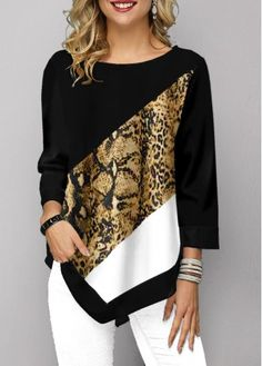 Shop damesmode tops, blouses, t-shirts, gebreide kleding online Cool Printed T Shirts, Animal Print T Shirts, Shirt Print, Trendy Tops For Women, Stylish Tops, Casual Tops, T Shirt Diy, Mode Style, Shirt Outfit