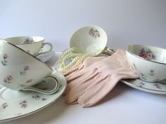 Vintage Harmony House Rosebud Teacups and Saucers by thechinagirl
