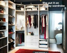 Closet / Ikea walk-in closet Ikea Closet, Closet Makeover, Closet Bedroom, Ikea Closet Organizer, Closet Inspiration, Corner Wardrobe Closet, Ikea Bedroom Storage, Closet Apartment, Ikea Pax Wardrobe