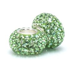 Set of 2 - Bella Fascini Peridot Green Pave Sparkle Bling - August Birthstone - Solid .925 Sterling Silver Core European Charm Bead Made with Authentic Swarovski Crystals - Compatible Brand Bracelets : Authentic Pandora, Chamilia, Moress, Troll, Ohm, Zable, Biagi, Kay's Charmed Memories, Kohl's, Persona & more! Bella Fascini Beads,http://www.amazon.com/dp/B005LK9FJG/ref=cm_sw_r_pi_dp_ptc2sb1TQC7C3W0S