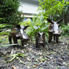 """""""Family of Warthogs"""" Recycled Metal Artwork"""