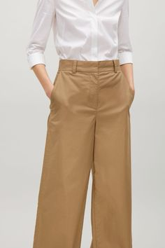 COS image 2 of Long cotton-twill trousers in Tan