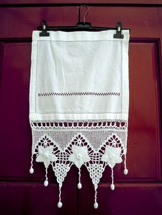 Handmade crochet curtain with atrante and lace- Flowers grapes design tassels- Cottage chic - Mediterranean style- Romantic curtains - Greek Crochet Home, Crochet Trim, Love Crochet, Crochet Motifs, Crochet Borders, Crochet Patterns, Cottage Chic, Fleur Design, Crochet Curtains