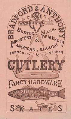 Vintage Graphic Design Cutlery and Hardware Store Sign Lettering Vintage Packaging, Vintage Labels, Vintage Ephemera, Vintage Ads, Vintage Prints, Vintage Posters, Graphics Vintage, Vintage Logos, Retro Logos