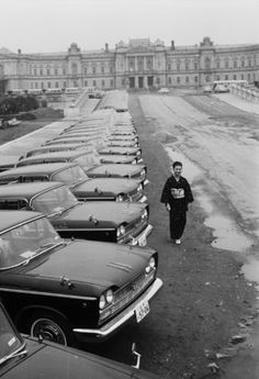 Olympic HQ September 1964: Olympic cars lined up outside the old palace in Tokyo which is the headquarters of the Olympic Committee. (Photo by Douglas Miller/Keystone Features/Getty Images)
