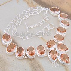 Morganite Silver Necklace Crystal Jewelry Cheap Jewelry, Jewelry Box, Jewelry Necklaces, Jewellery, Morganite Necklace, Morganite Jewelry, Crystal Jewelry, Gemstone Jewelry, All That Glitters
