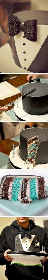 Tuxedo Cake Tutorial http://thecakebar.tumblr.com/post/62076360986/tuxedo-birthday-cake-tutorial-with-printable-bow