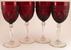 4-Crystal-Cris-d-Arques-Durand-Antique-Ruby-Water-Goblets-8-Tall