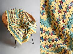 Vintage Cozy Pastel Crochet Afghan  Multi Color by GirlLeastLikely