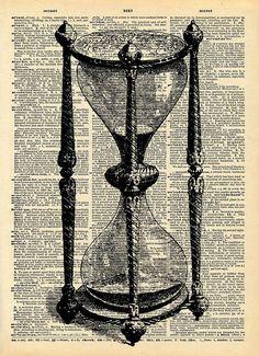 Vintage vieux livre imprimé - heure verre victorien imprimé - Upcycled recyclé antiques librairies Print - Steampunk Art Print - modifié Art...