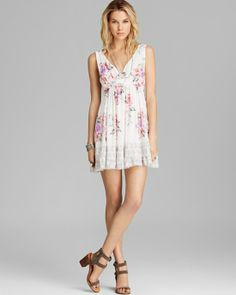 FREE PEOPLE Printed Spring Fever Mini Dress Juicy Combo $110