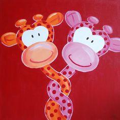 """Schilderij """"Verliefde Giraffe"""". Leuk voor op de kinderkamer. www.stephaniefiseler.nl"""