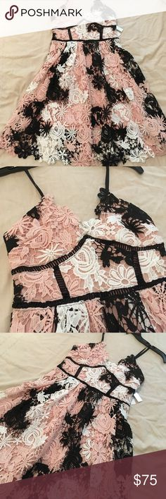 Lace floral dress by Aqua Black, ivory, and blush intricate floral lace dress. NWT never been worn. Great spring dress. Aqua Dresses