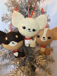 3 Pack Felt Chihuahua Ornaments by HappyChristymas on Etsy