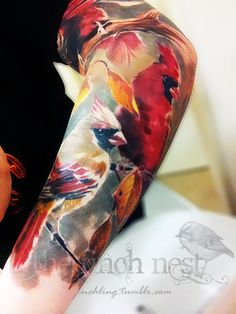 Bird half sleeve. Nice watercolor style