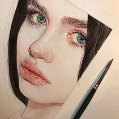 Reina Yamada is an artist who works actively in Japan and is the author of many works of watercolor art. The re-adaptation of watercolor paint. Pencil Portrait, Portrait Art, Abstract Portrait, Portrait Ideas, Portrait Inspiration, Painting Inspiration, Watercolor Portraits, Watercolor Paintings, Watercolor Eyes