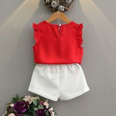 Red Applique Ruffles Trim Crisscross Tank Top And Shorts - Fashion Kids, Toddler Outfits, Kids Outfits, Summer Outfits, Little Girl Dresses, Girls Dresses, Baby Dress Design, Girl Dress Patterns, T Shirt And Shorts